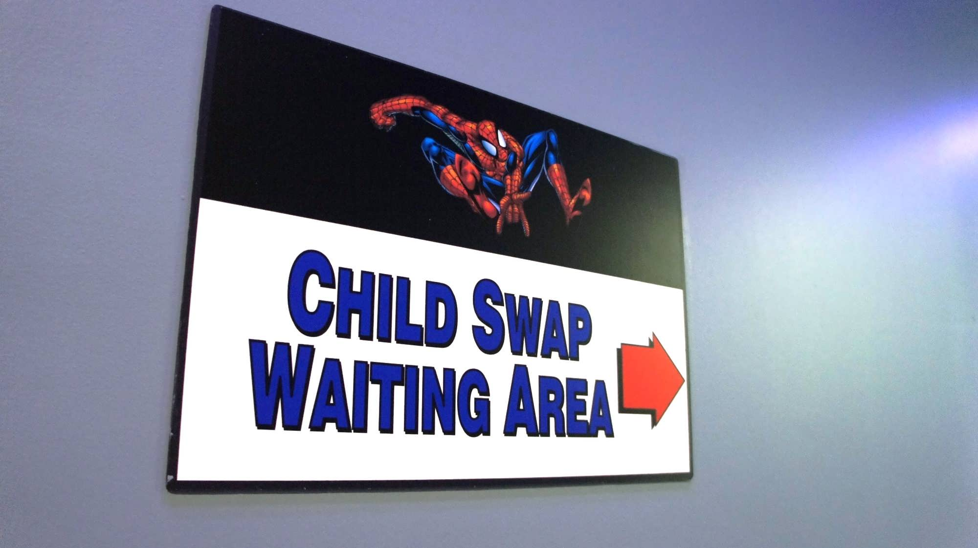 Child Swap sign at The Amazing Adventures of Spider-Man