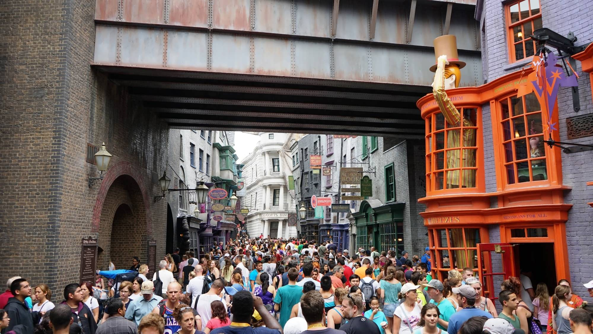 Crowds inside The Wizarding World of Harry Potter – Diagon Alley