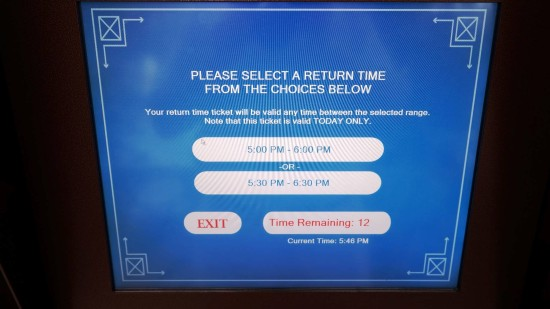 Select a return time from the choices below