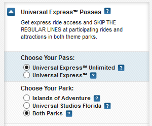 Universal Express Pass options.