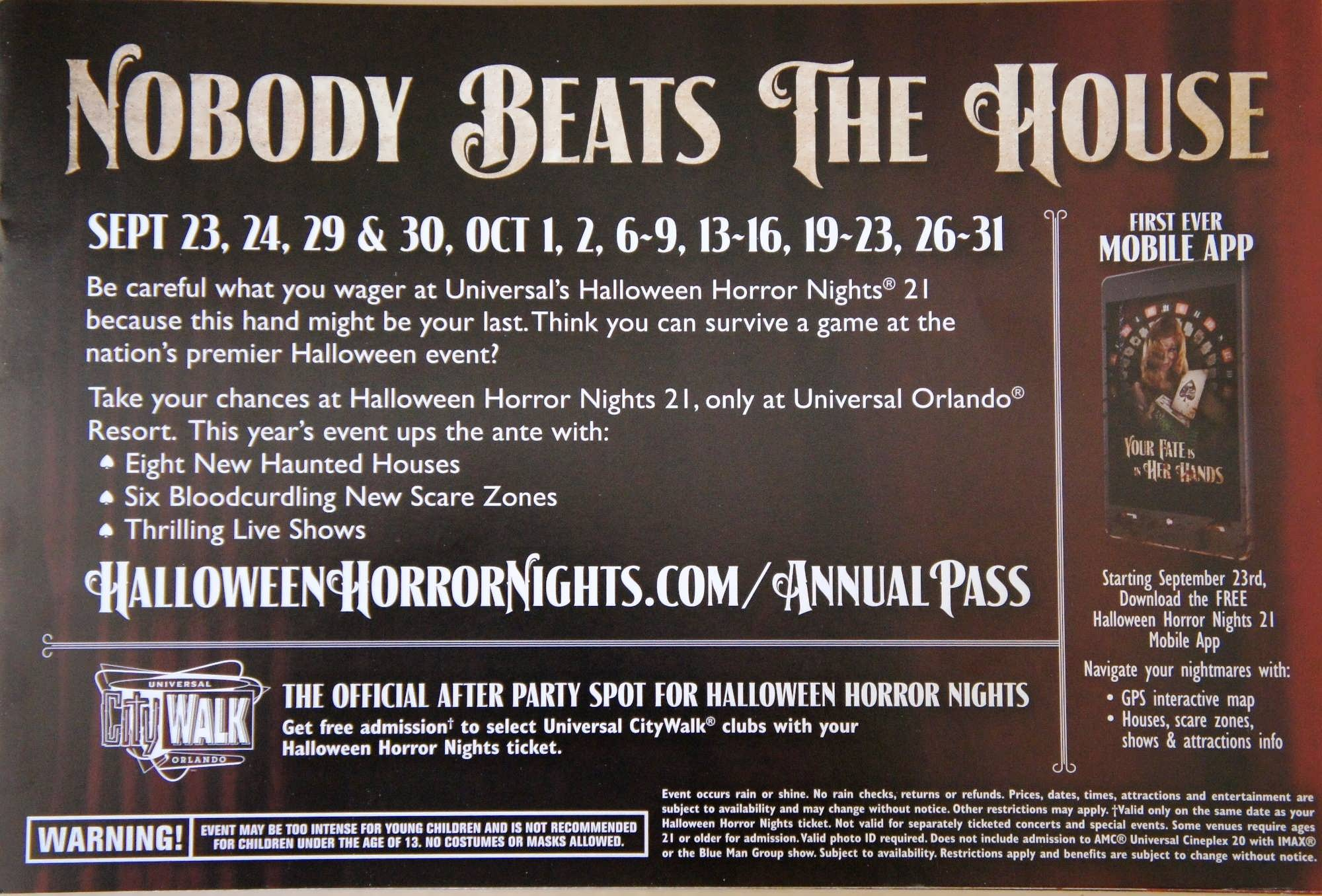 fall 2011 universal orlando passholder mailer page 2 nobody beats the house - Halloween Horror Nights Free Tickets