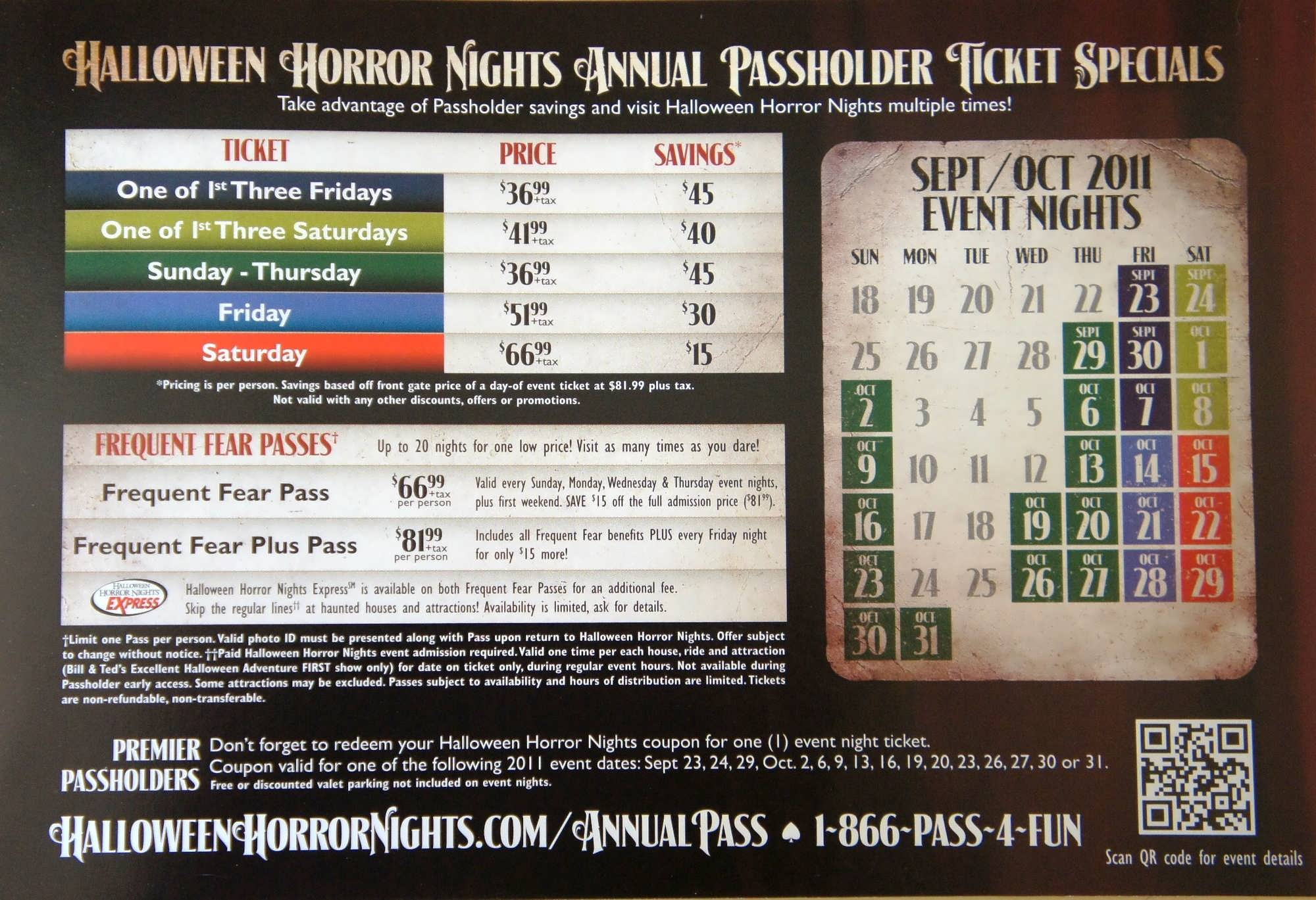 Halloween Horror Nights Passholder Discounts