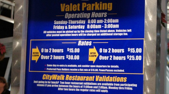 Universal Orlando's valet parking rates as of December 2011.