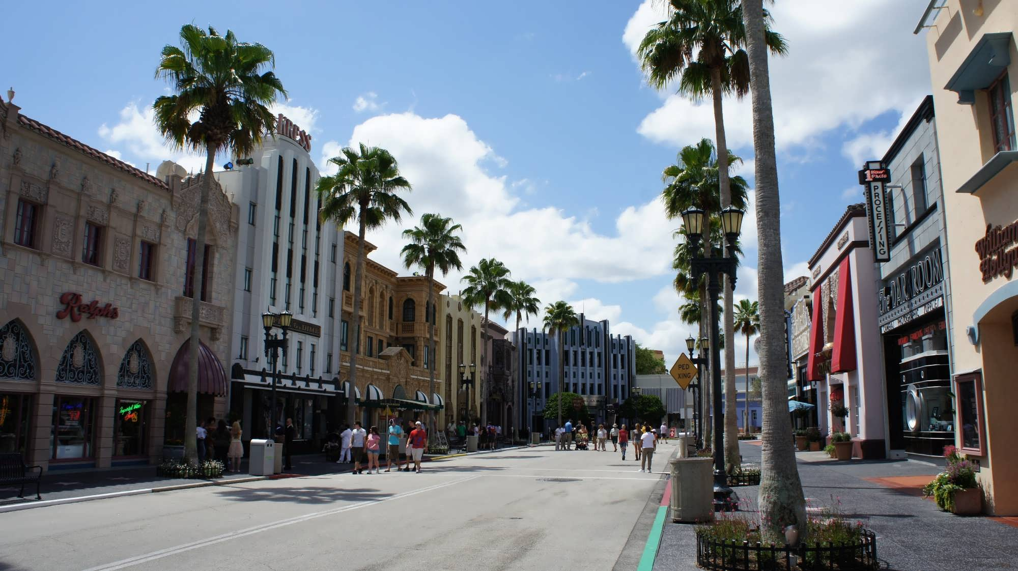 Hollywood-style facades line the streets of this land