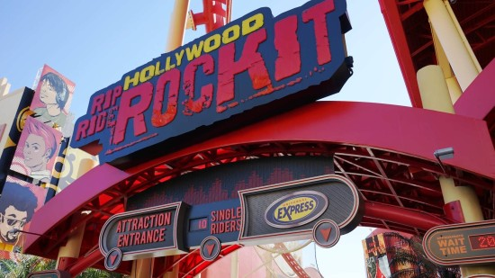 Express Pass sign at Hollywood Rip Ride Rockit.