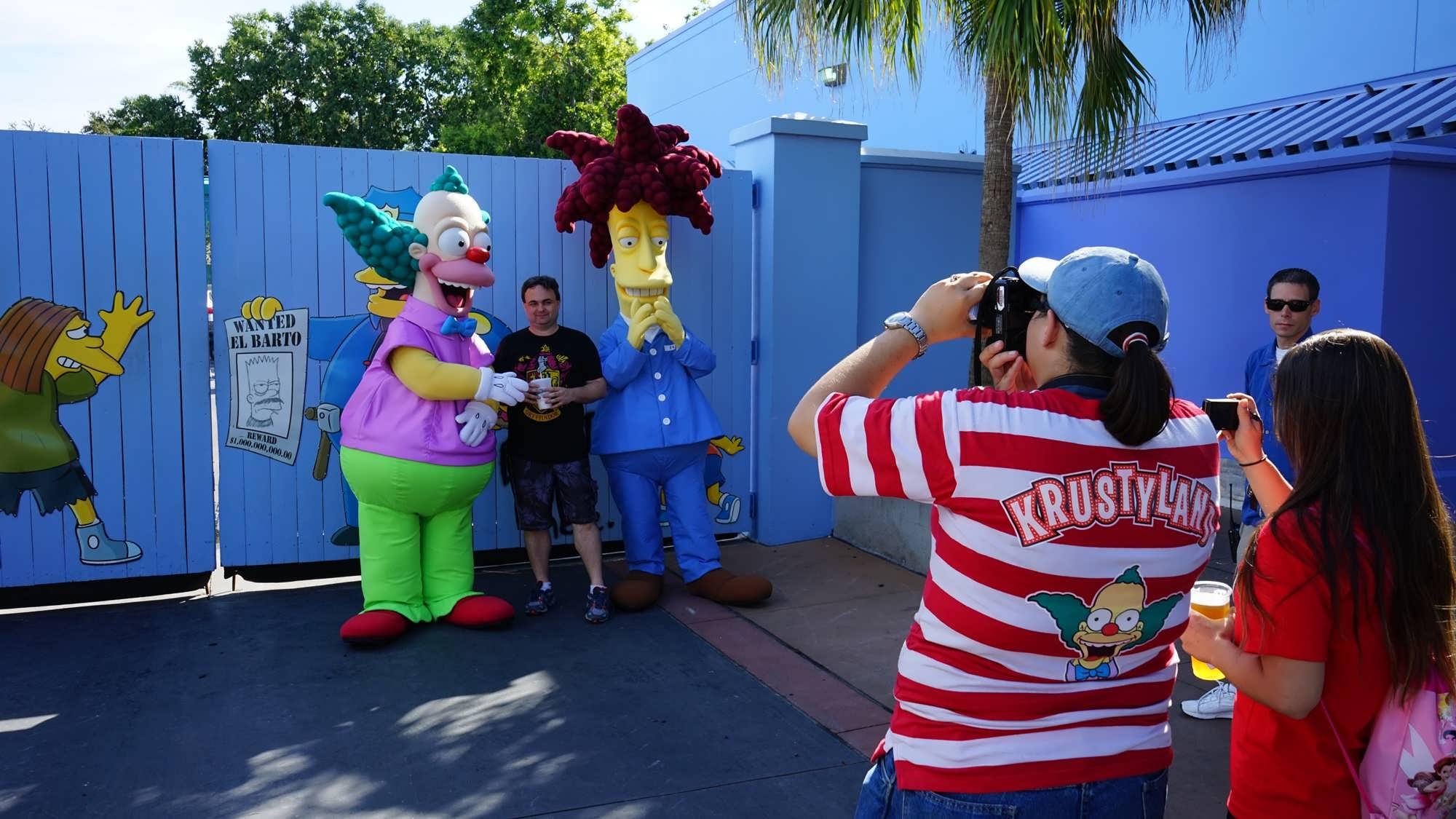 Krusty the Clown & Sideshow Bob near The Simpsons Ride