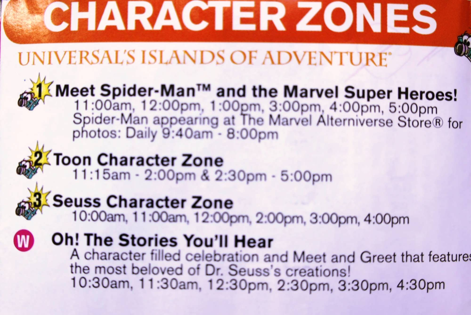 Character sample schedule at Universal's Islands of Adventure