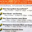 Character schedule at Universal Studios Florida.