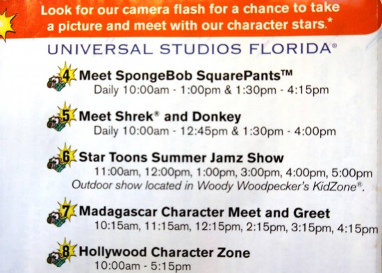 Character sample schedule at Universal Studios Florida.