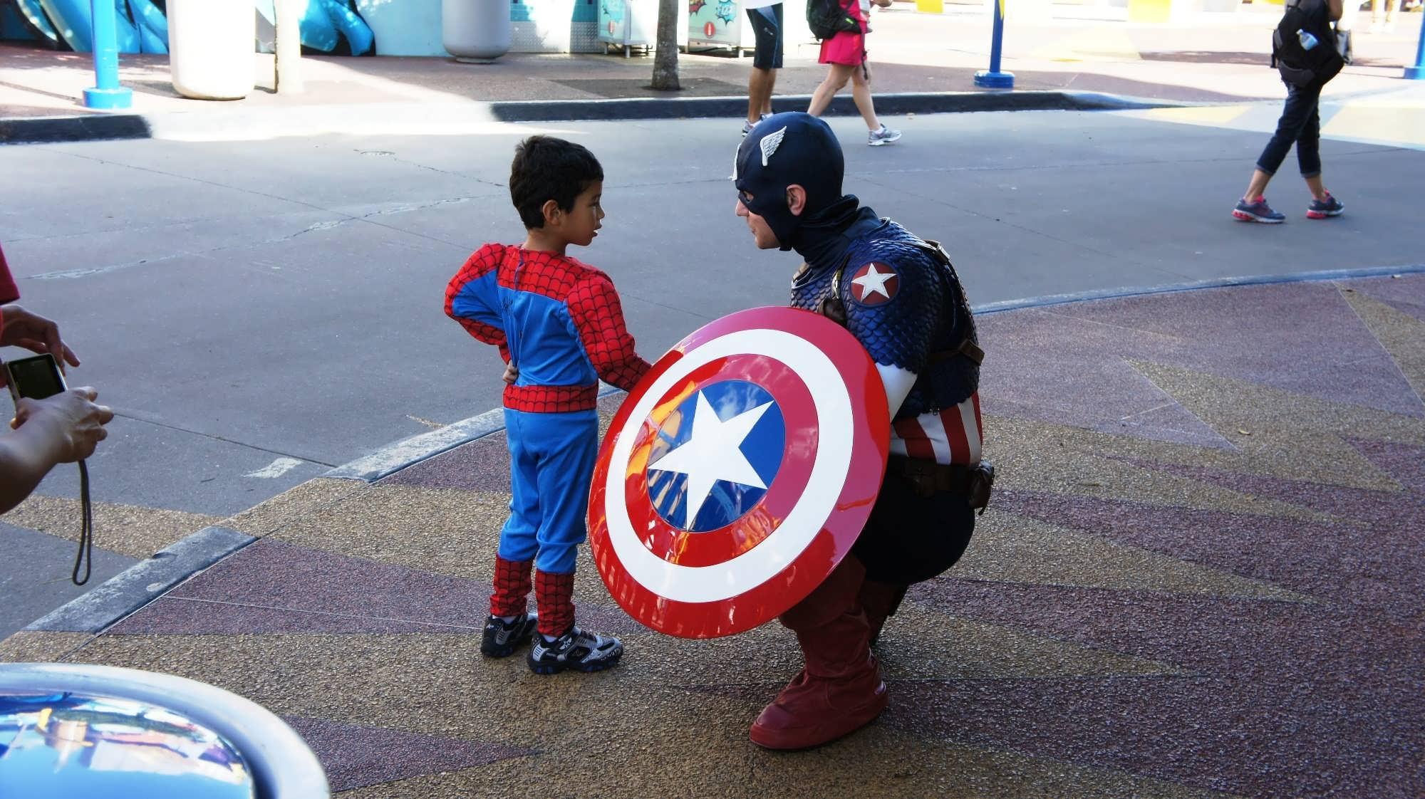 A child meets Captain America
