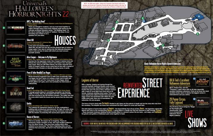 Halloween Horror Nights 2012 event map.