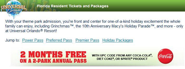 Universal Orlando holiday FL res annual pass promotion (courtesy of UniversalOrlando.com).