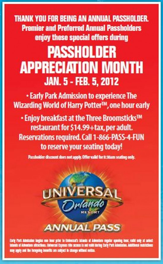 Universal Orlando Annual Passholder Appreciation Month: January 2012.