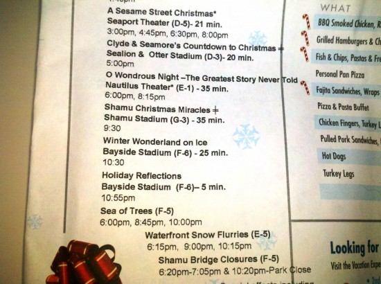SeaWorld's 2011 Christmas show schedule (subject to change).