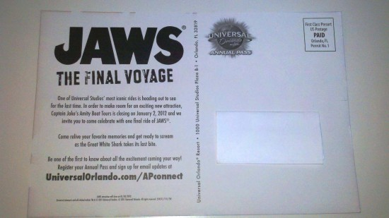 "Universal Orlando's ""One Final Escape"" mailer - back."
