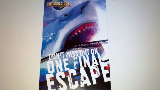 "Universal Orlando's ""One Final Escape"" mailer - front."