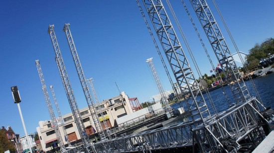 The barges for Universal's new nighttime show at USF.