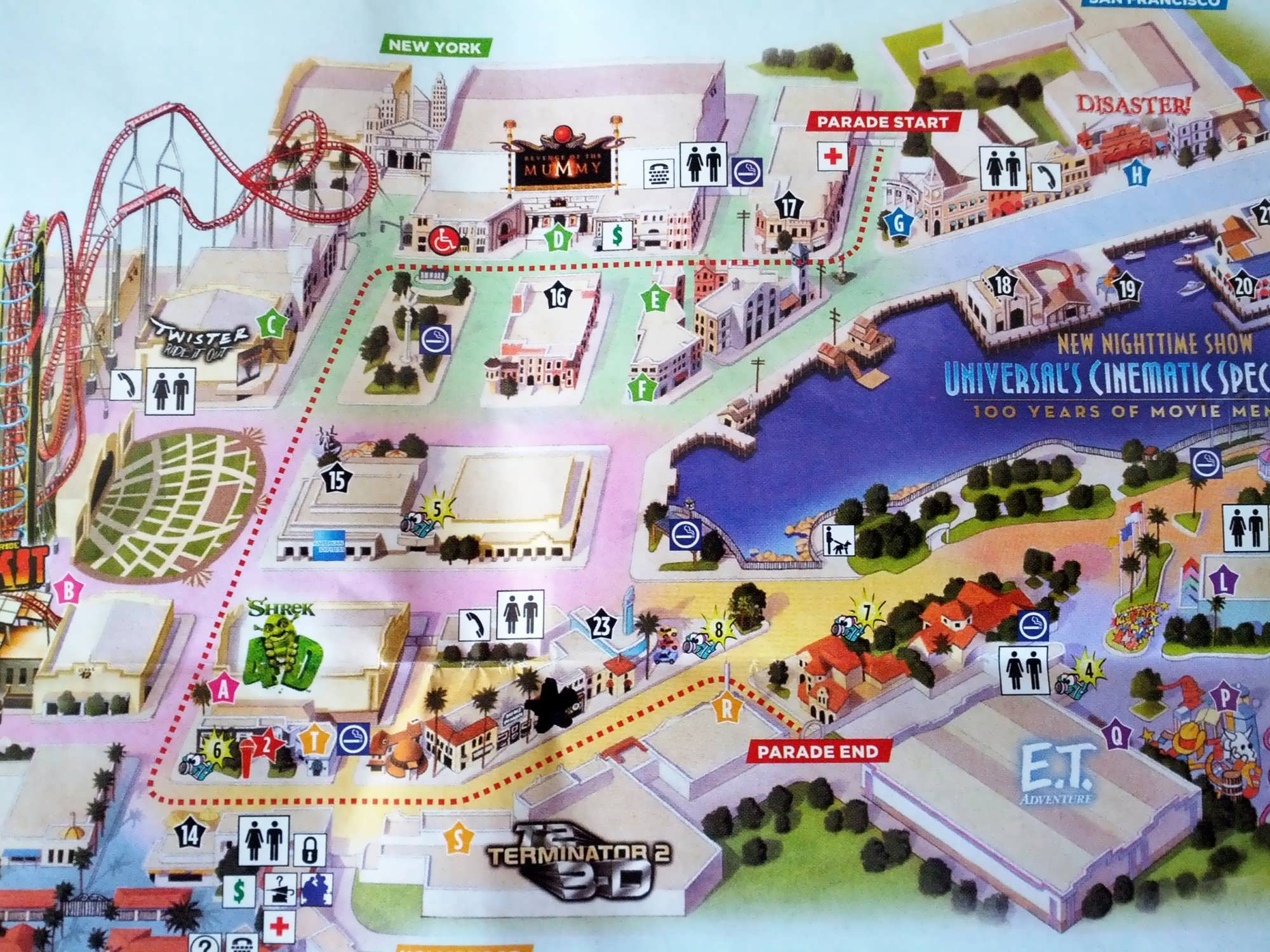 Universal's Superstar Parade: Map of the parade route