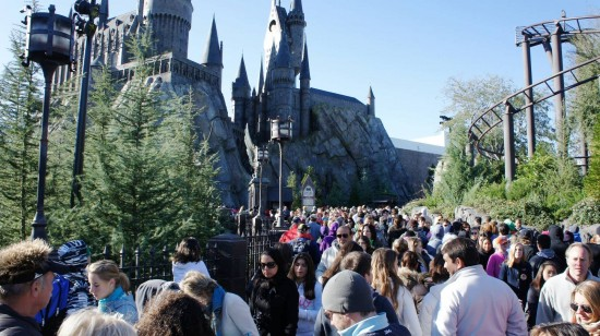 Holiday crowds at the Wizarding World of Harry Potter.