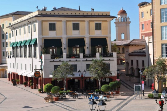 Bice Restaurant and the Harbor Piazza at Loew's Portofino Bay Hotel.
