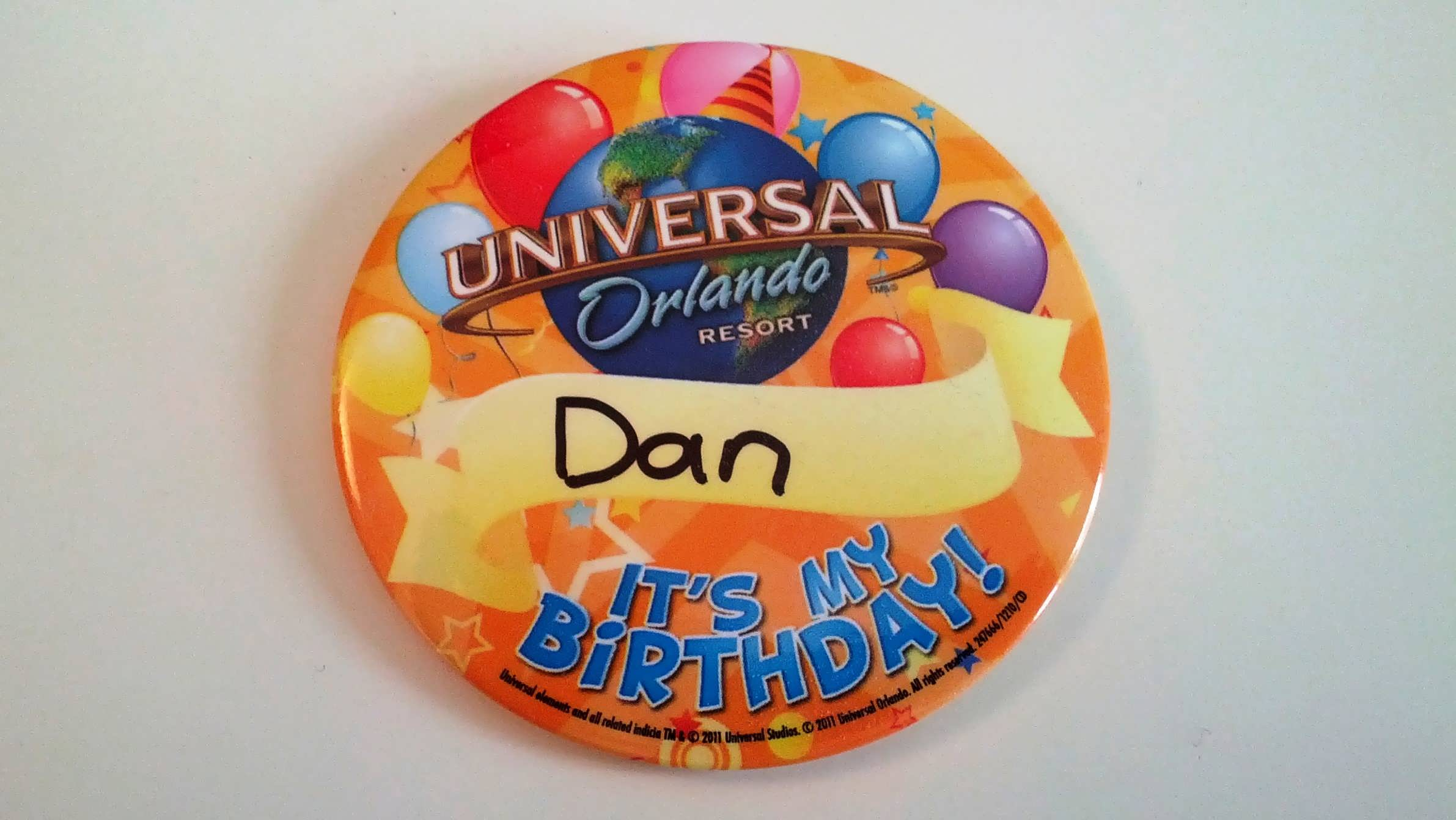 Universal Orlando birthday button