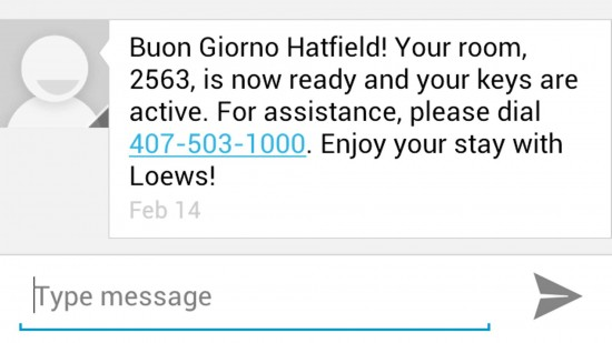 Text from Portofino Bay Hotel alerting guests that their rooms are ready.