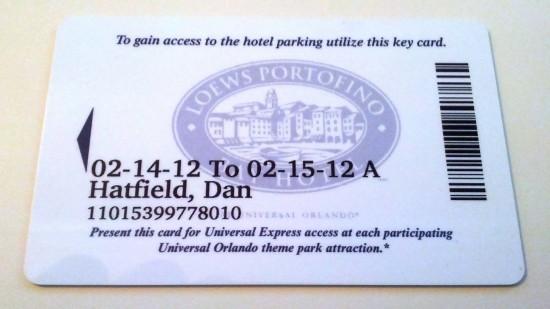 Portofino Bay Hotel room key.