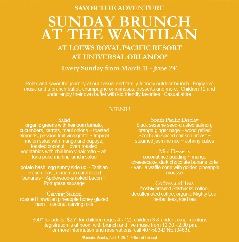 Sunday Brunch at the Wantilan menu and pricing