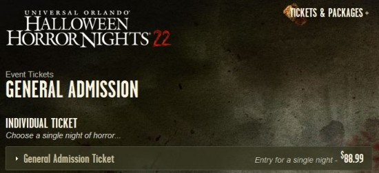 Halloween Horror Nights 2012 admission tickets & Express Passes.