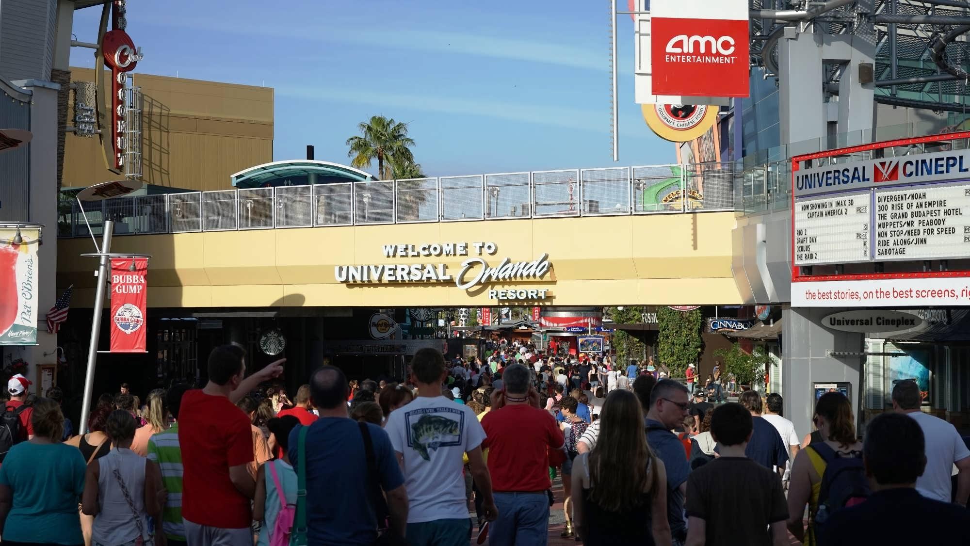 Entering Universal Orlando's CityWalk.
