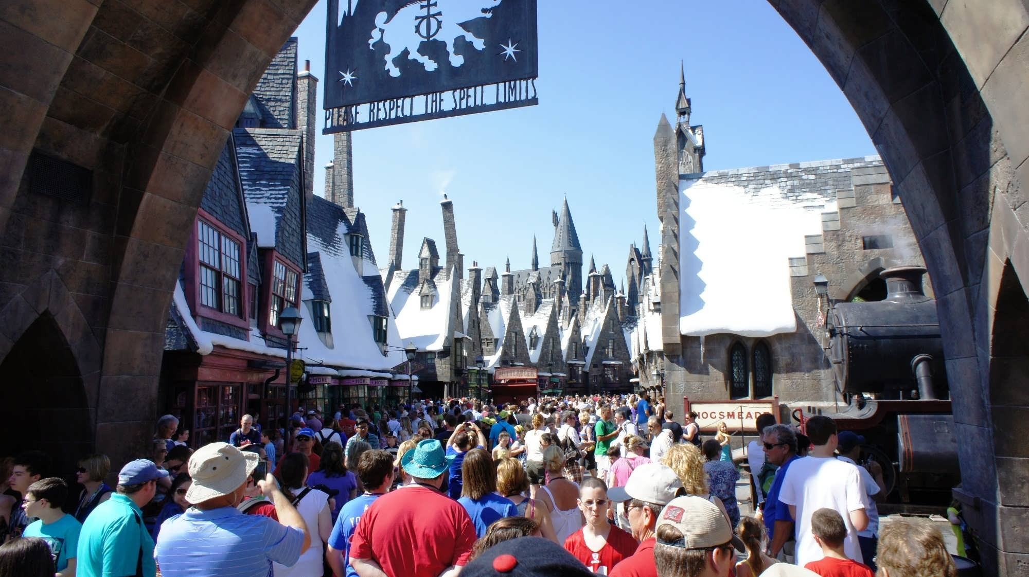 Crowds inside The Wizarding World of Harry Potter – Hogsmeade