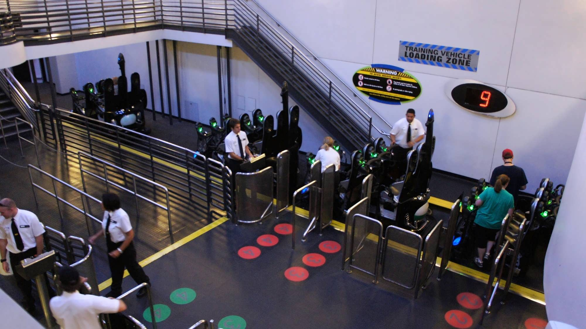 Ride loading area showing the red side and green side at MEN IN BLACK Alien Attack at Universal Studios Florida