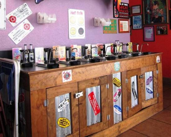 Tijuana Flats: Hot sauce bar.