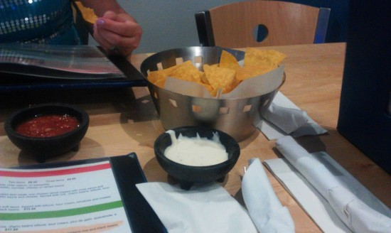 Agave Azul: Chips with salsa and cool ranch.