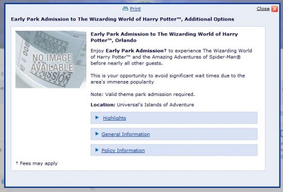 Early Park Admission details for Universal vacation packages.