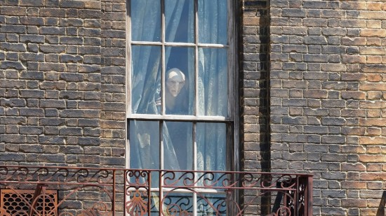 Kreacher, seen looking out of a window at 12 Grimmauld Place.