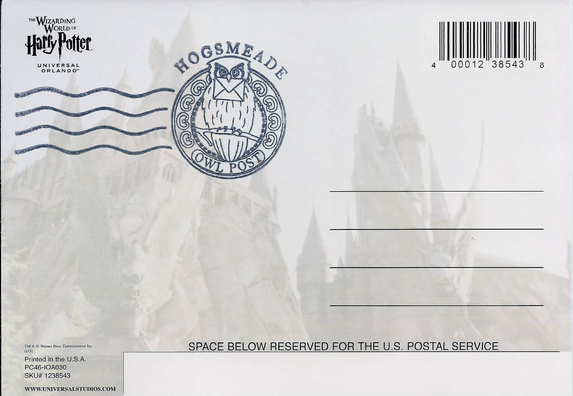 The Hogsmeade postmark at the Owl Post in The Wizarding World of Harry Potter - Hogsmeade.
