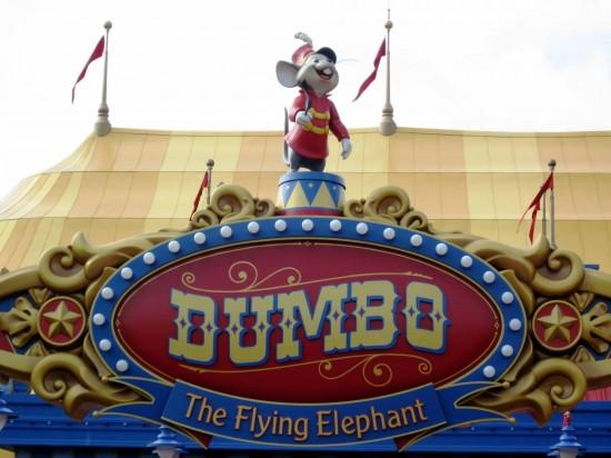 Fantasyland expansion at Magic Kingdom: Timothy Q. Mouse spins atop the sign between the Dumbo rides.