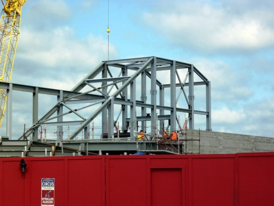 Fantasyland expansion at Magic Kingdom: Work continues on the Seven Dwarfs Mine Train structure.
