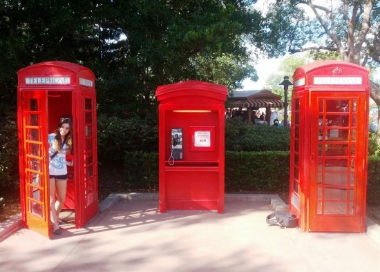 Red telephone booths at the UK Pavilion in Epcot.