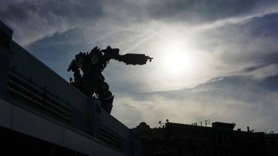 Optimus Prime lights up the evening sky at Universal Studios Florida.