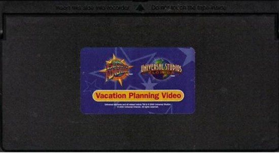 Universal Orlando vacation planning VHS tape.