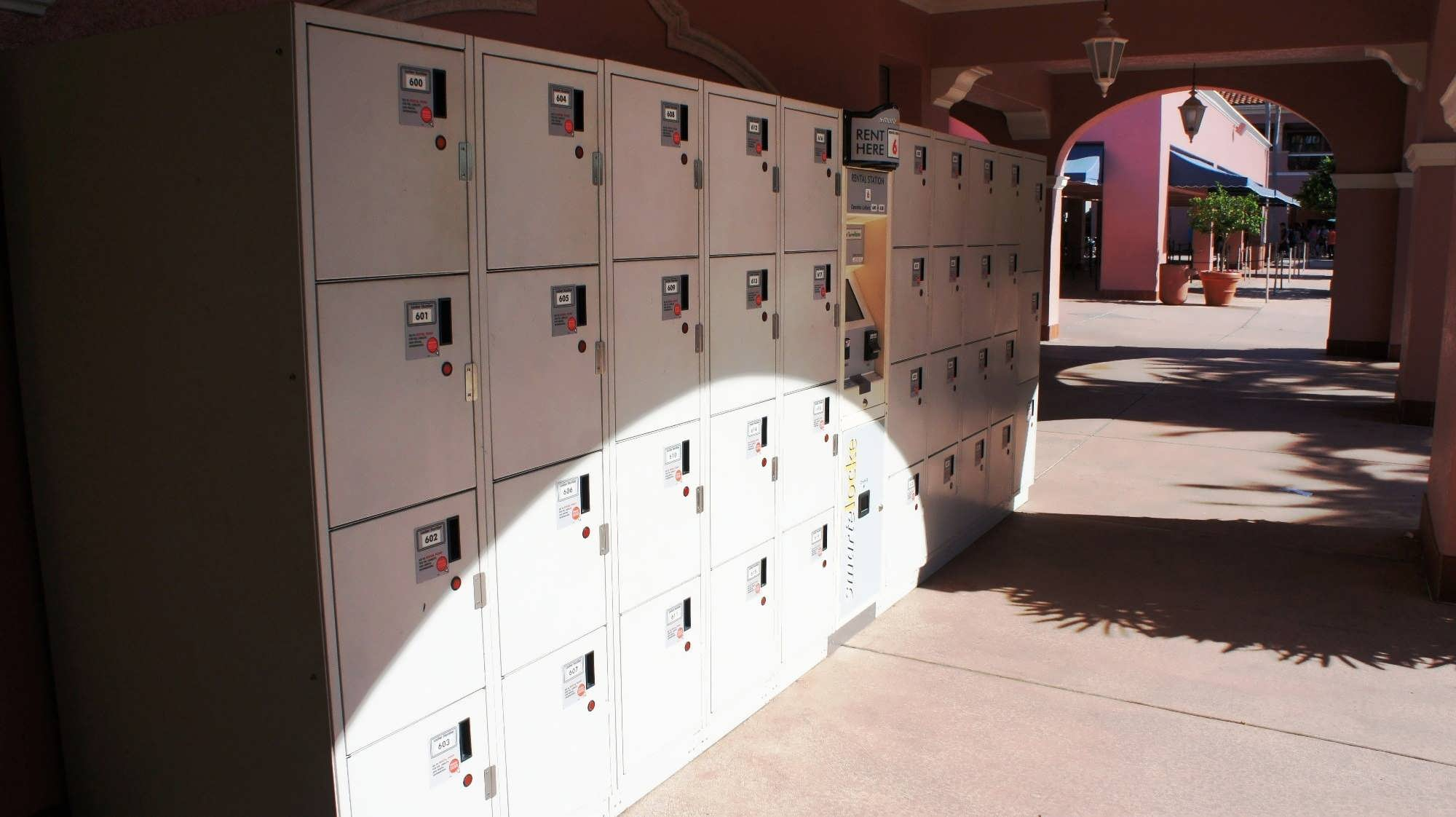 USF lockers – Set 1. Outside the park, to the far left of the entrance.