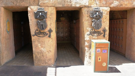 IOA lockers - Set 7. Inside the park, to the left by the stroller rental.