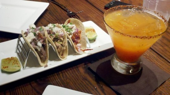 Taco trio and a Orange Mango Fire Margarita at La Hacienda.
