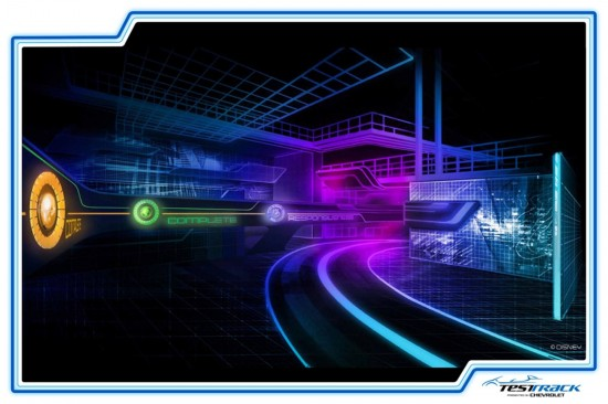 Renderings of the new Test Track at Epcot.