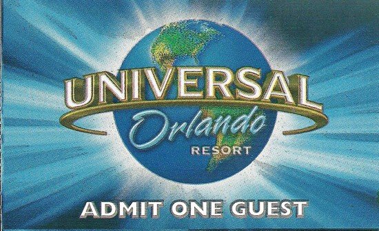 Universal Orlando admission ticket.