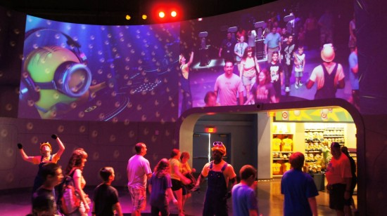 A dance party greets guests exiting the ride portion of Despicable Me Minion Mayhem.