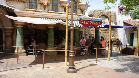 Guest Services outside the Islands of Adventure turnstiles.