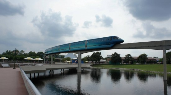 A Disney monorail dressed up to promote Tron: Legacy.